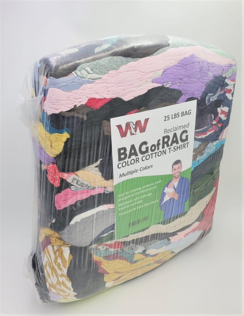 Color Knit T-Shirt Wiping Rags - 600 lbs Pallet in Bags