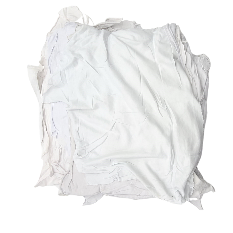 Premium Washed White Cotton knit Rags 25lbs Box