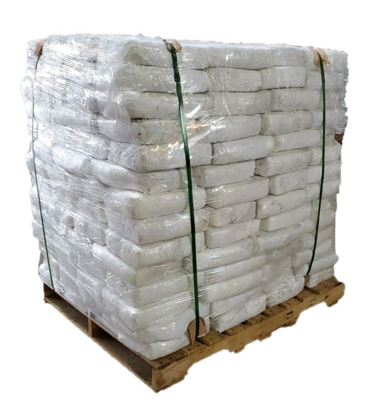 White Knit Cotton T-Shirt Wiping Rags -210 Bags of 5lbs - 1050 lbs Pallet