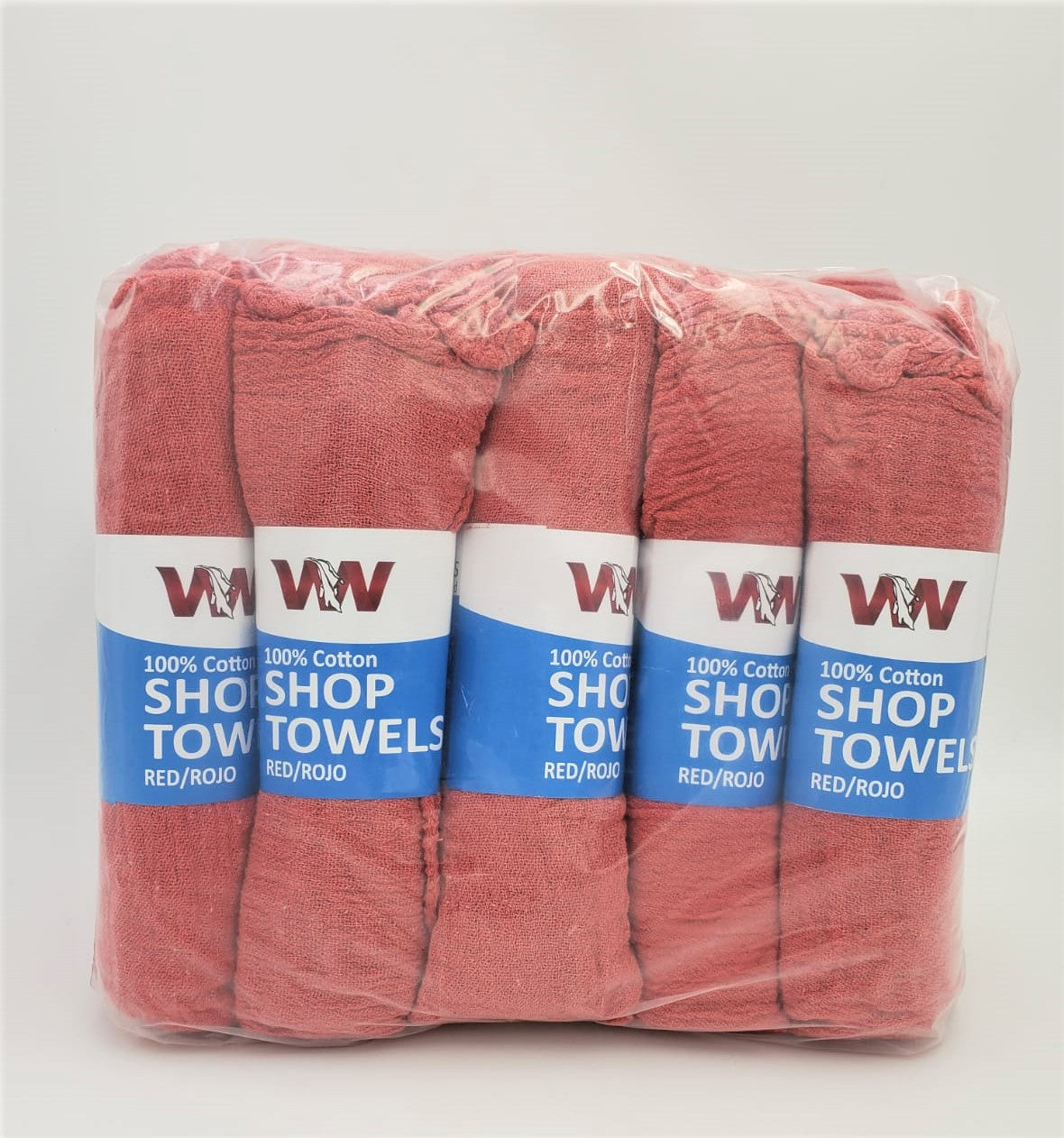 """Red Shop Towels Grease Rags 12 Count Prewashed Reusable 12/"""" x 14/"""" Cotton Blend"""