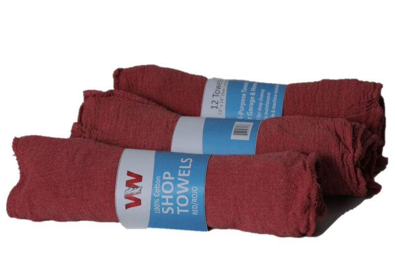 Red Shop Towels - 10 Rolls of 12 (doz) Retail Packaging