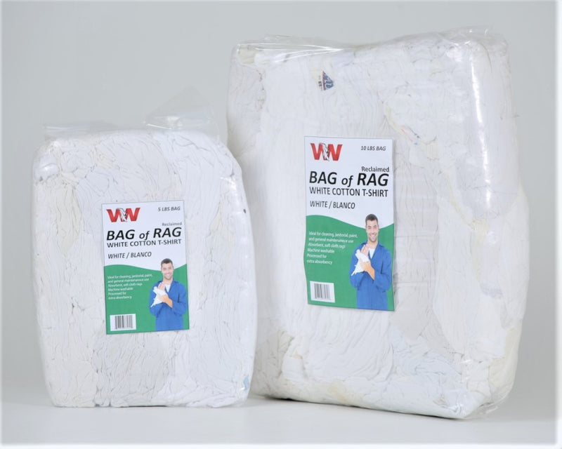 White Cotton T-Shirt Rags - 10 LB Rags in Bag