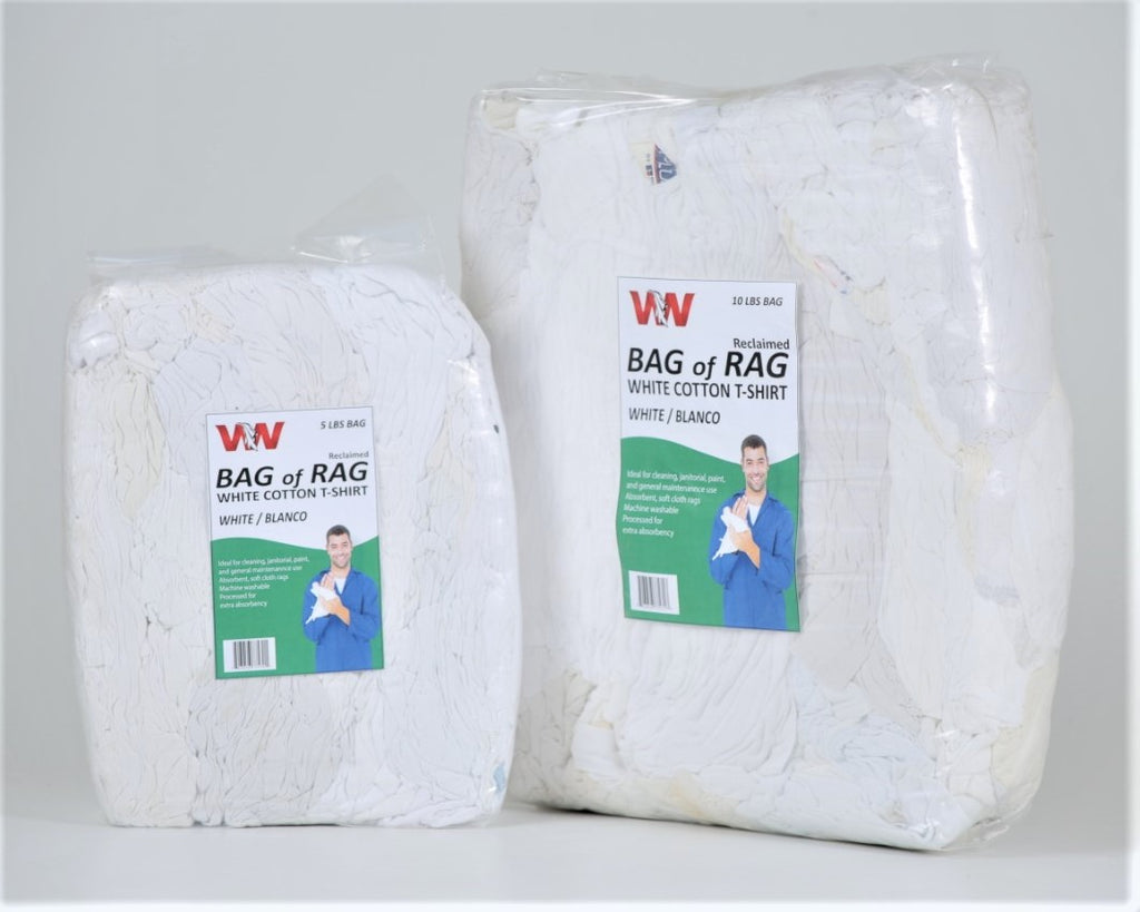 White Cotton T-Shirt Rags - 5 LB Rags in Bag