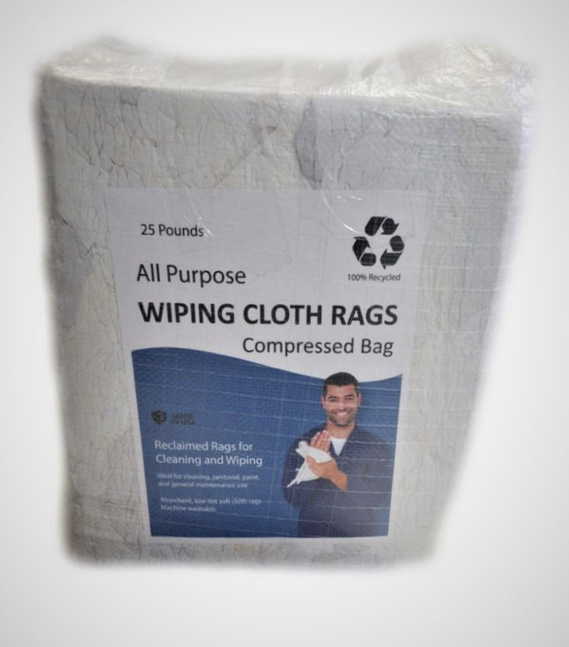 White Knit Cotton T-Shirt Wiping Rags - 25 lbs Bag