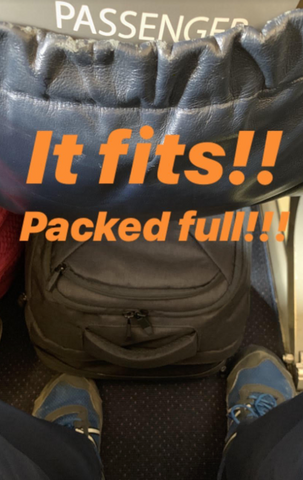 Backpack that fits under the seat in front
