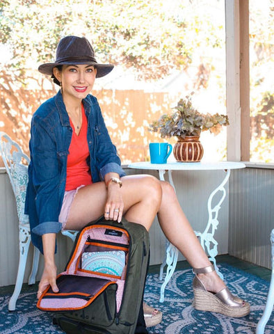 Amy West Travel Blogger with her Knack Backpack