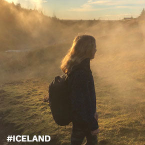 Kate using her bag as a carry-on and as a pack for hacking in Iceland