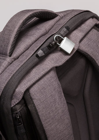 Lockable zippers travel backpack expandable
