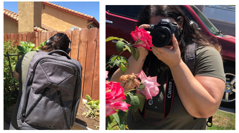 Photographer using Knack Pack as work bag and carryon backpack
