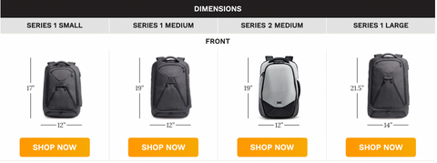 Compare Knack Pack travel backpack sizes
