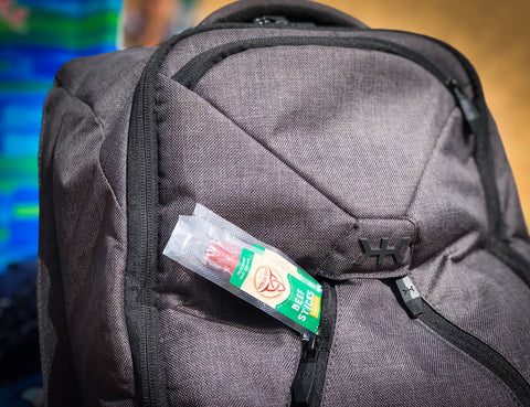 Snacks in the front pocket Knack Pack