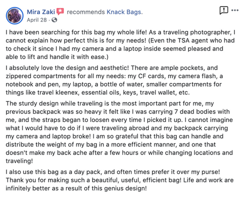 Facebook review of the Knack Pack as a carryon bag for photographers