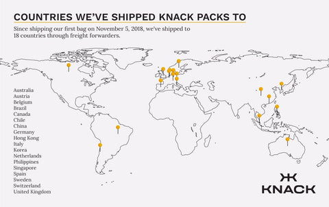 Countries we have shipped the Knack Pack to