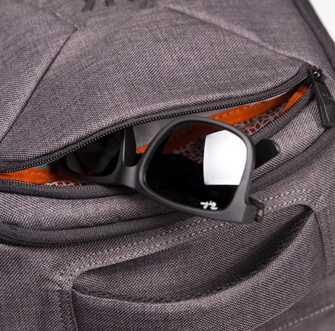 Backpack with pocket for sunglasses
