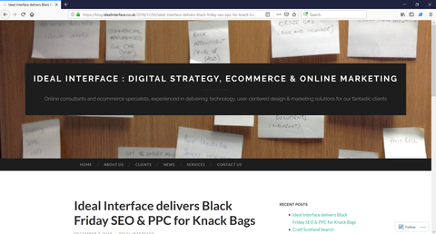 Ideal Interface website, Digital strategy & Marketing consultancy based in Glasgow Scotland