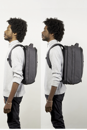 "Medium Knack Pack unexpanded and expanded on 5'10"" model."