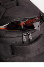 Built-in, fleece-lined, protective soft case sunglasses pocket