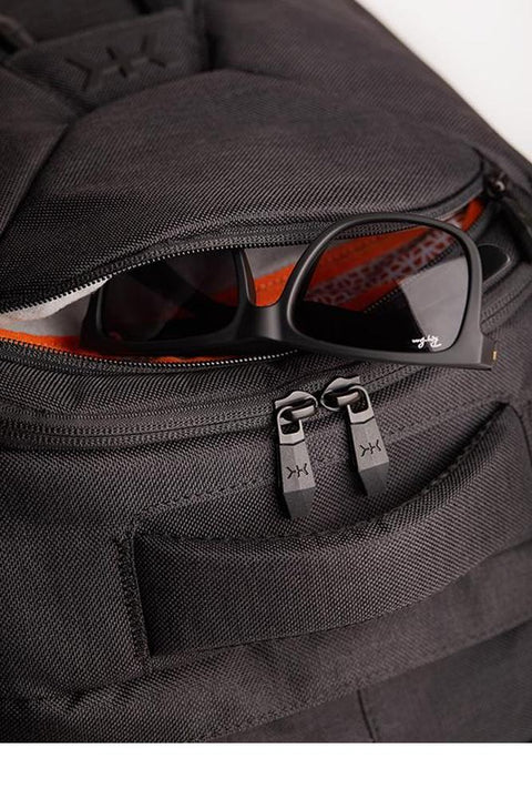 Knack large backpack in grey colour. Built-in, fleece-lined, protective soft case sunglasses pocket