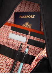 Easy-access front triangle pocket with business card slots and pen loops