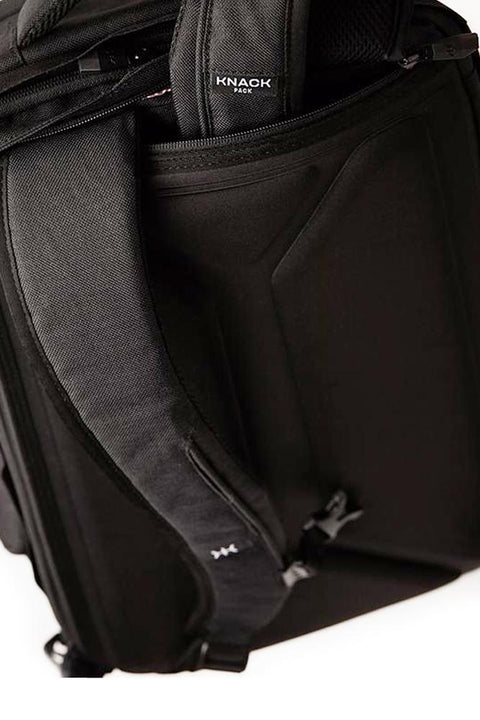 Knack large backpack in grey colour. Tuck-away back zip storage pocket for shoulder straps