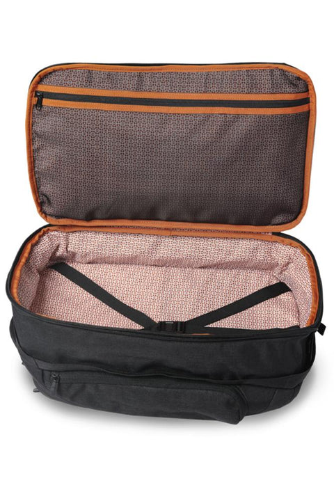 Separate, patent-pending, expandable packing compartment holds 2 to 3 changes of clothes