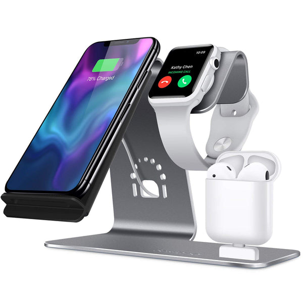 【Bestand】Appleユーザー必見! 3 in 1ワイアレスチャージャー (iPhone X/8/7/6s/Samsung S8/Airpods/iWatch)グレー/シルバー - Trends LABO