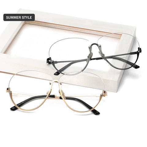 Big Frame Rimless Glasses