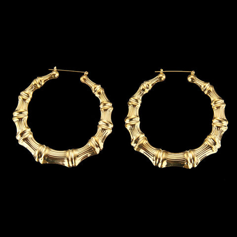 Large Bamboo Hoops Earrings