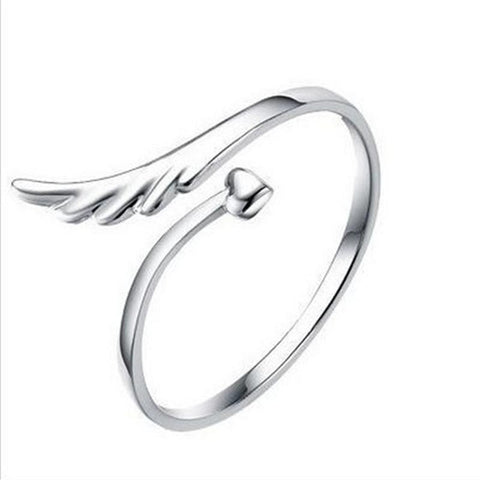 Silver Plated Joint Angel Wings Ring