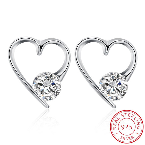 Pure Silver Heart-Shaped Earrings Studs