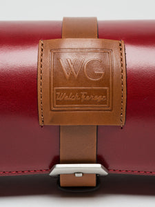 Premium Watch Roll in Cherry Red Leather