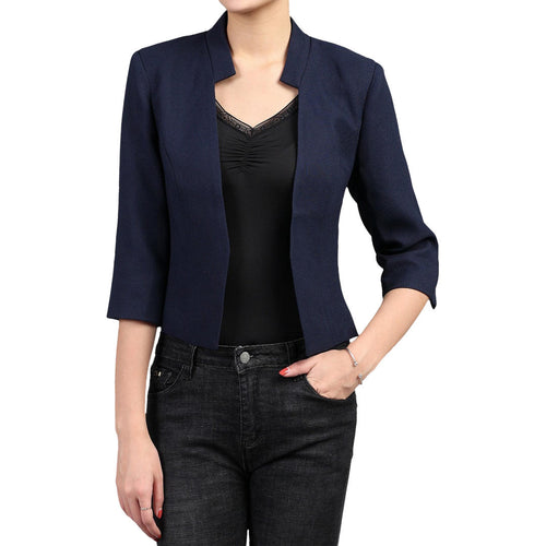 Cropped Open Jacket, Navy