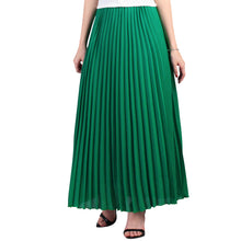 Load image into Gallery viewer, Pleated Crepe Maxi Skirt, Green