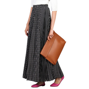 Jolie Moi Pleated Polka Dot Maxi Skirt, Black Polka