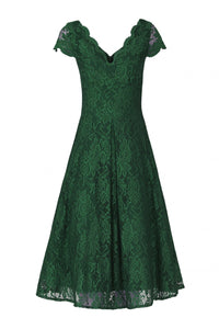 Jolie Moi Cap Sleeve Fit & Flare Lace Dress, Green