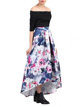 Load image into Gallery viewer, Jolie Moi Printed High Low Prom Skirt, GREY
