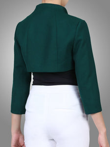 Jolie Moi High Collar Bolero Jacket, Dark Teal