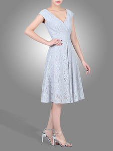 Jolie Moi Cap Sleeve Scalloped Lace Dress, grey