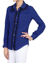Load image into Gallery viewer, Jolie Moi Contrast Lace Trimmed Blouse, Royal Blue