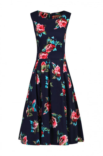 Jolie Moi Floral Pleated Swing Dress, Navy/Floral