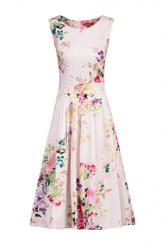 Jolie Moi 50s Floral Pleated Dress, Pink