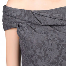 Load image into Gallery viewer, Jolie Moi Bardot Neck Lace Dress DARK GREY