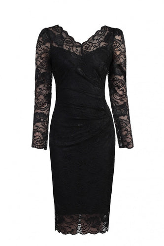 Long Sleeved Lace Bodycon Dress, Black