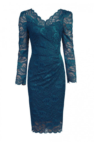 Jolie Moi Long Sleeved Lace Bodycon Dress, PETROL BLUE