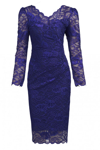 Jolie Moi Long Sleeved Lace Bodycon Dress, ROYAL BLUE