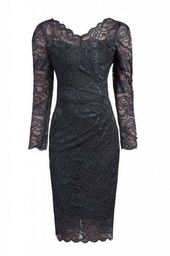 Jolie Moi Long Sleeved Lace Bodycon Dress, DARK GREY