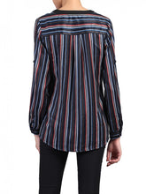 Load image into Gallery viewer, Jolie Moi V-Neck Striped Blouse, NAVY MULTI