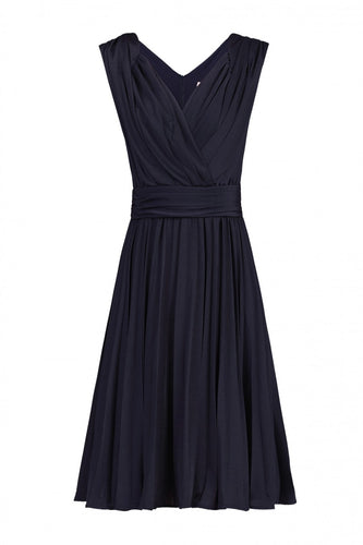 Jolie Moi Plunge Neck Pleated Dress, NAVY