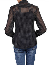 Load image into Gallery viewer, Copy of Jolie Moi Chiffon Polka Dot Shirt, Black/White