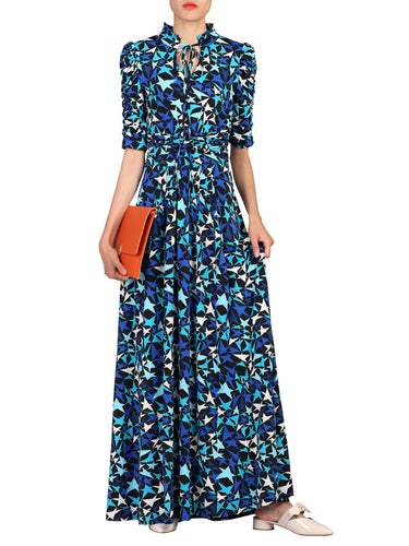 Jolie Moi Star Print Tie Collar Maxi Dress, Navy Star